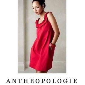 ANTHROPOLOGIE FEI POPPY FRILL SLEEVELESS DRESS RED